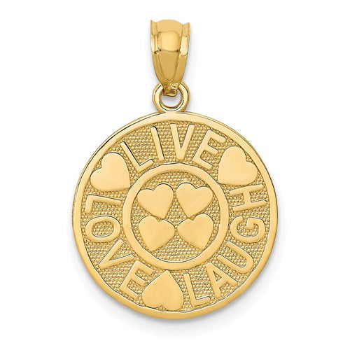 14k Yellow Gold Live Love Laugh Round Pendant Charm