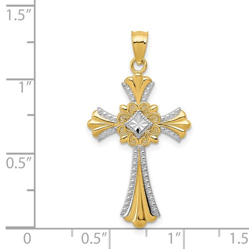 14k Yellow Gold and Rhodium Celtic Cross Pendant Charm