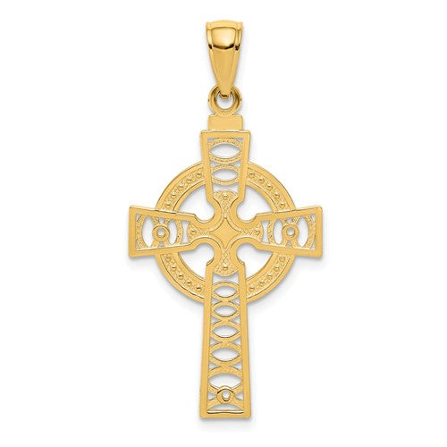 14k Yellow Gold Celtic Cross Eternity Pendant Charm