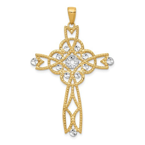 14k Yellow Gold with Rhodium Diamond Cut Beaded Cross Pendant Charm