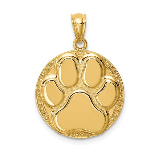 14k Yellow Gold Paw Print Dog Puppy Pendant Charm