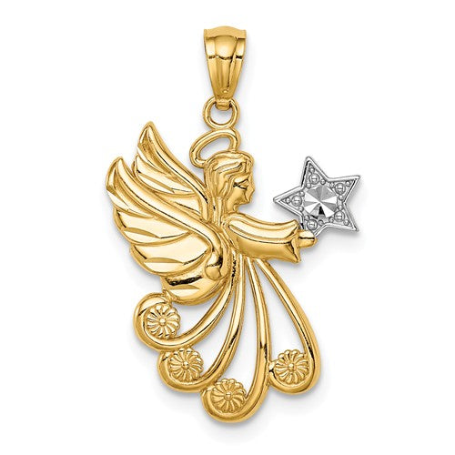 14k Yellow Gold Angel with a Star Pendant Charm
