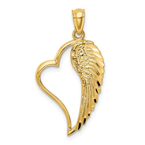 14k Yellow Gold Diamond Cut Angel Wing Heart Pendant Charm