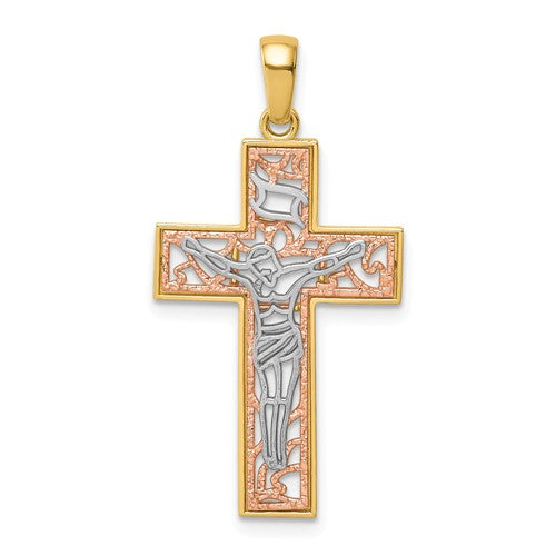 14k Yellow Rose Gold Rhodium Tri Color Cross Crucifix Pendant Charm