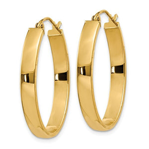 14k Yellow Gold Classic Oval Hoop Earrings