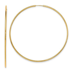 14K Yellow Gold 72mm x 1.5mm Round Endless Hoop Earrings