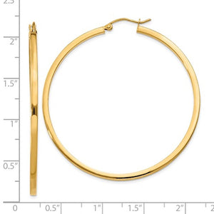 14K Yellow Gold 50mm Square Tube Round Hollow Hoop Earrings