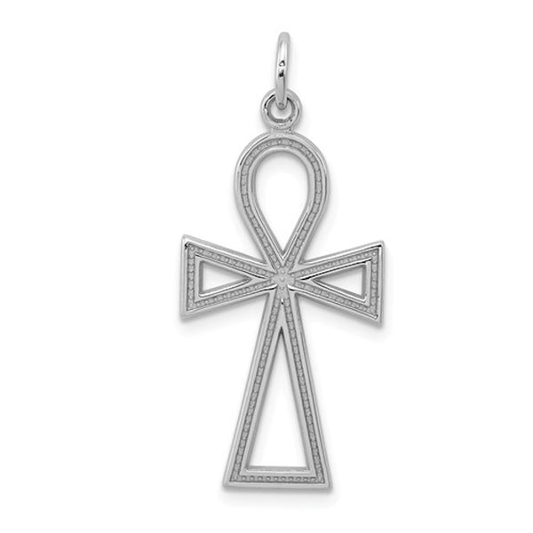 14k White Gold Ankh Cross Pendant Charm