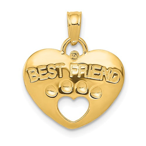 14k Yellow Gold Best Friend Paw Print Dog Puppy Heart Pendant Charm