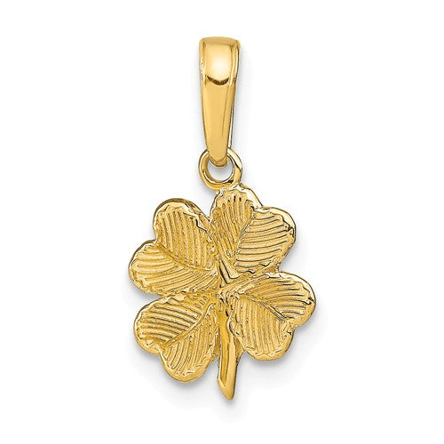 14k Yellow Gold Good Luck Four Leaf Clover Pendant Charm