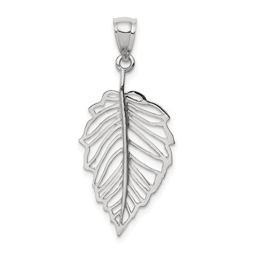 14k White Gold Polished Leaf Pendant Charm
