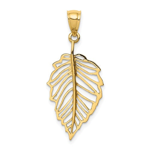 14k Yellow Gold Polished Leaf Pendant Charm
