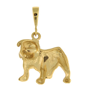 14k Yellow Gold Bulldog Open Back Pendant Charm