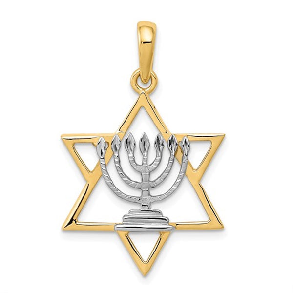 14k Yellow Gold and Rhodium Star of David Menorah Pendant Charm