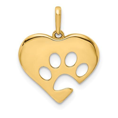 14k Yellow Gold Paw Print Cut Out Heart Pendant Charm