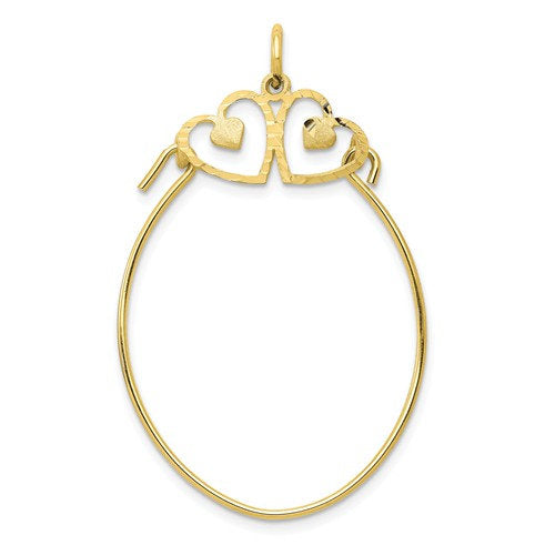 10K Yellow Gold Double Heart Satin Finish Charm Holder Pendant