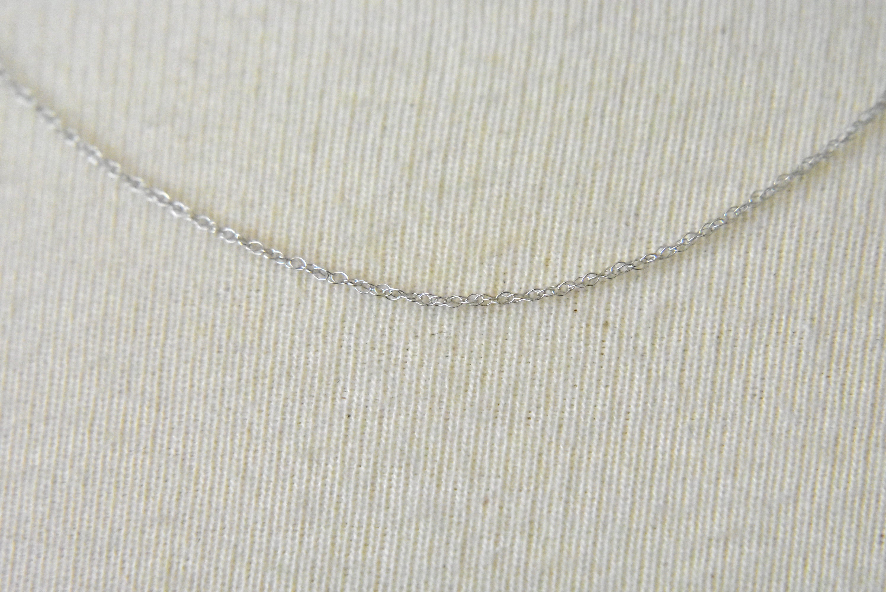 14k White Gold 0.50mm Thin Cable Rope Necklace Pendant Chain