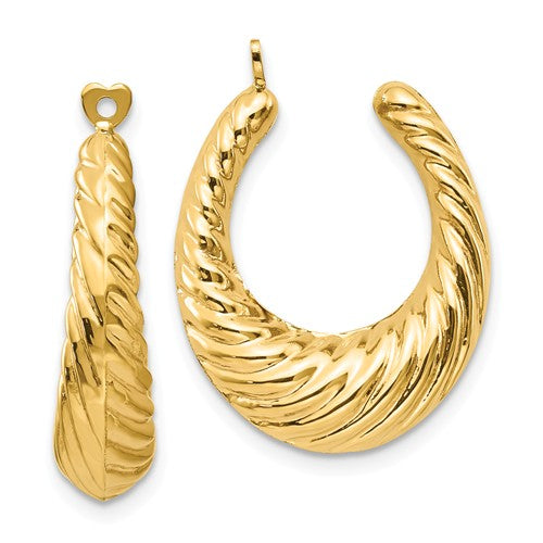 14k Yellow Gold Twisted Hoop Hollow Earring Jackets