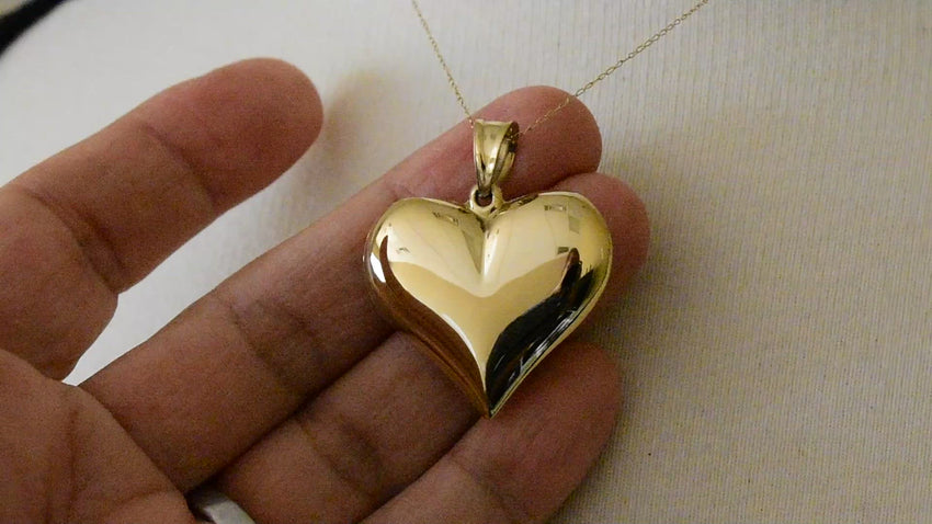 14K Yellow Gold Polished 3 Dimensional Hollow Small Puffed Love Heart Charm