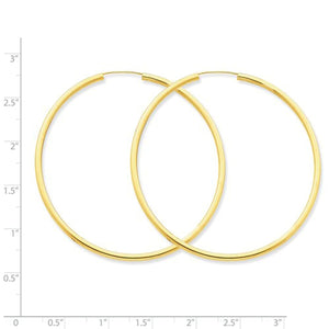 14K Yellow Gold 50mm x 2mm Round Endless Hoop Earrings