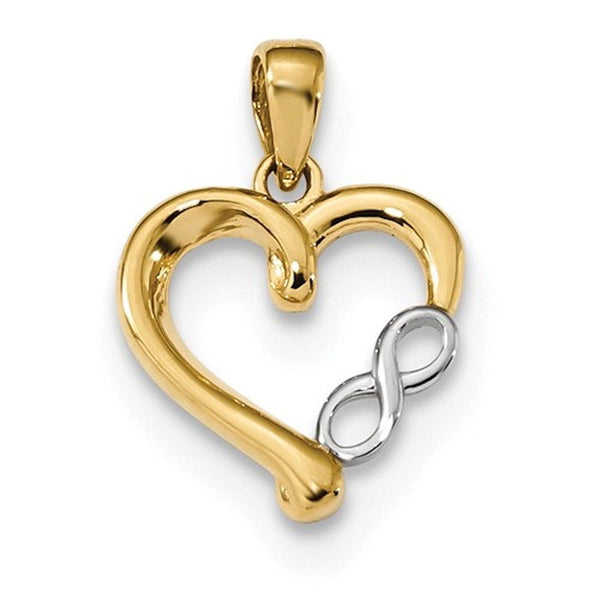 14k Gold Two Tone Heart Infinity Open Back Pendant Charm