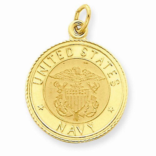 14k Yellow Gold United States US Navy USN Insignia Round Disc Pendant Charm Engraved Personalized