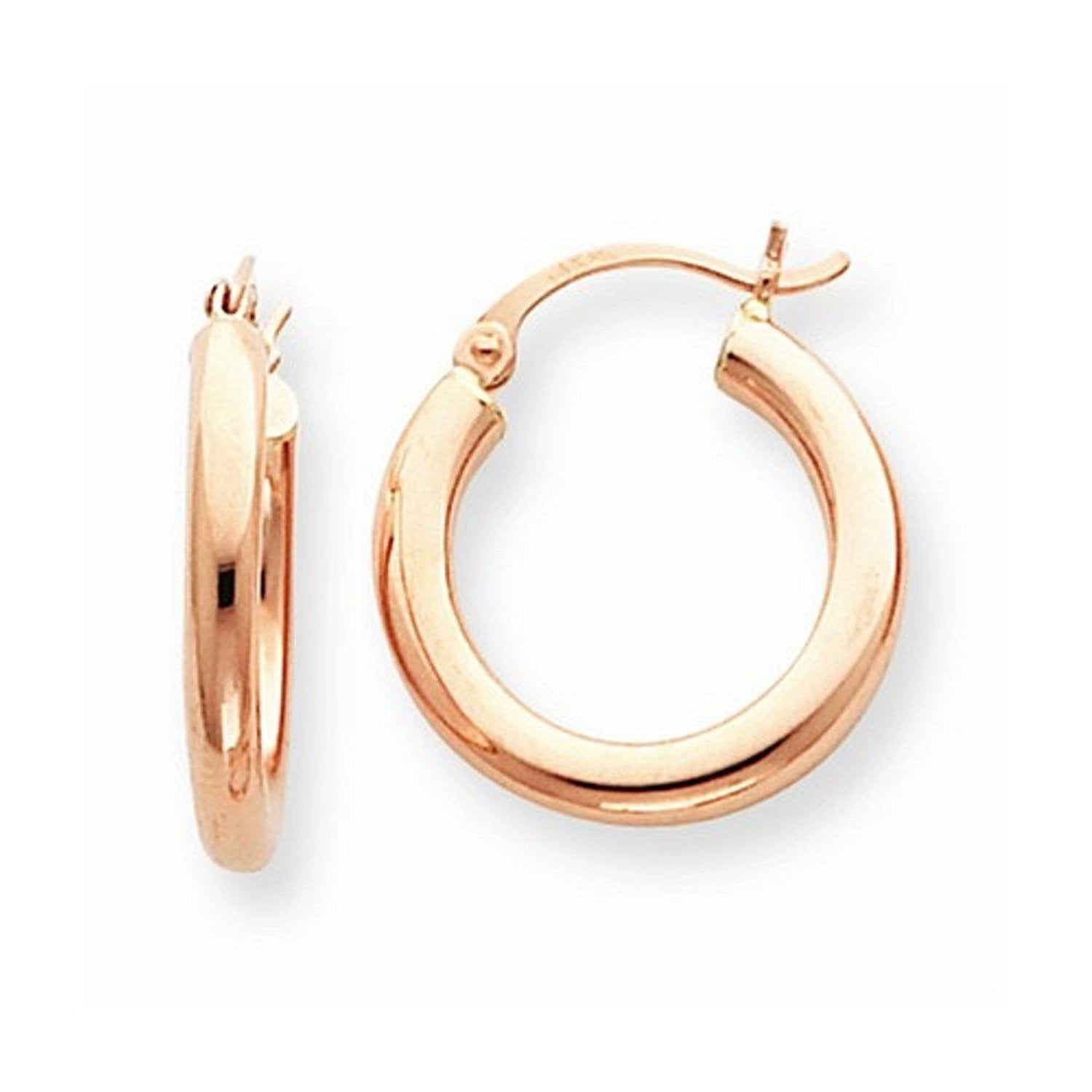 14K Rose Gold 20mm x 3mm Classic Round Hoop Earrings