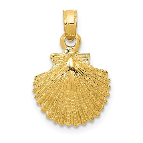 14k Yellow Gold Seashell Clamshell Scallop Shell Pendant Charm