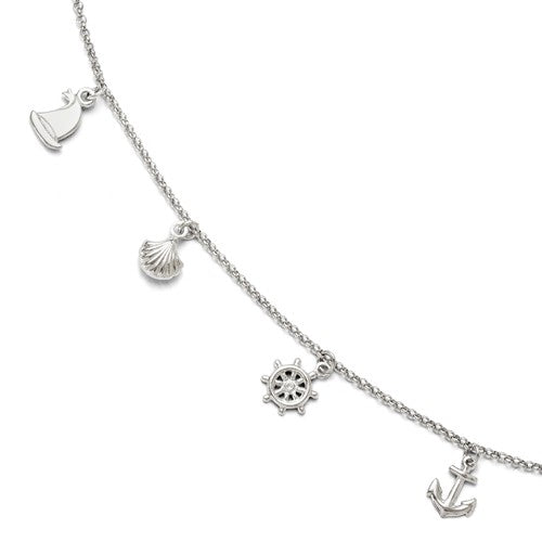 Sterling Silver Sailboat Anchor Seashell Adjustable Anklet