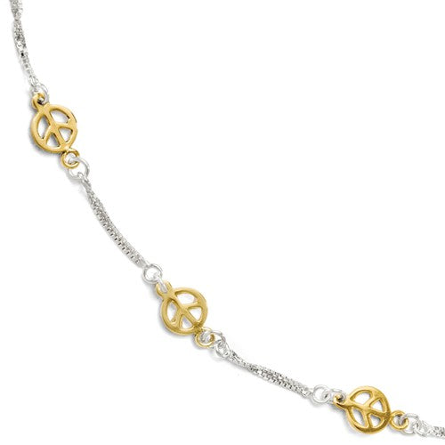 Sterling Silver Gold Plated Peace Sign Symbol Adjustable Anklet