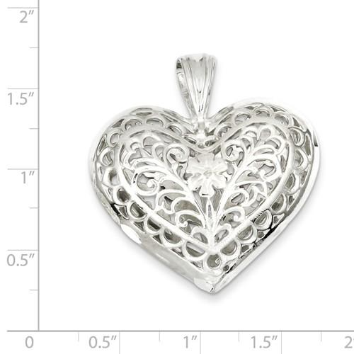 Sterling Silver Puffy Filigree Heart 3D Large Pendant Charm