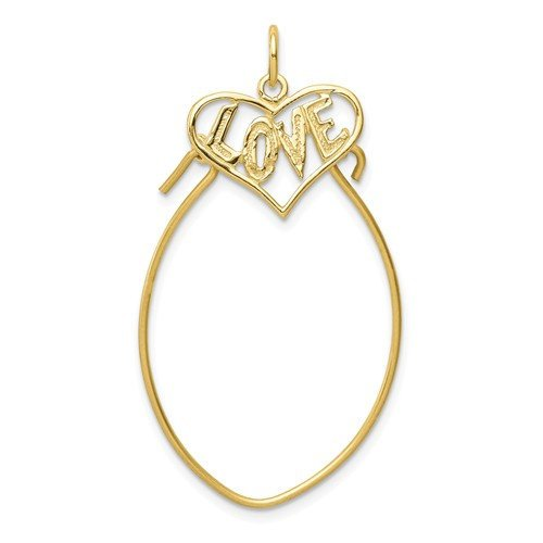 10K Yellow Gold Love Heart Charm Holder Pendant