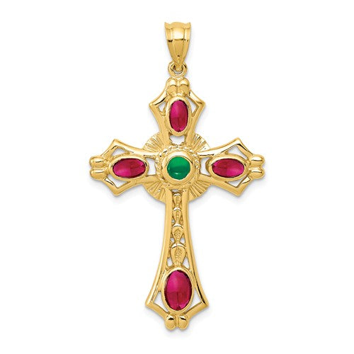 14k Yellow Gold with Genuine Ruby Emerald Cross Pendant Charm