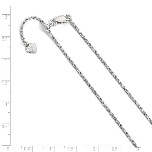 Sterling Silver 1.4mm Rope Necklace Pendant Chain Adjustable