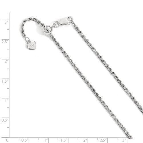 Sterling Silver 2mm Rope Necklace Pendant Chain Adjustable