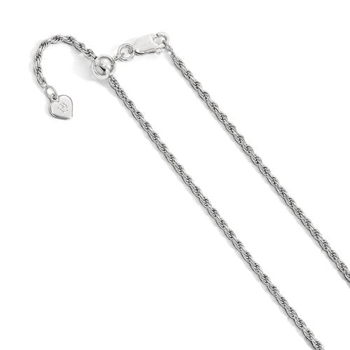 Sterling Silver 2.25mm Rope Necklace Pendant Chain Adjustable
