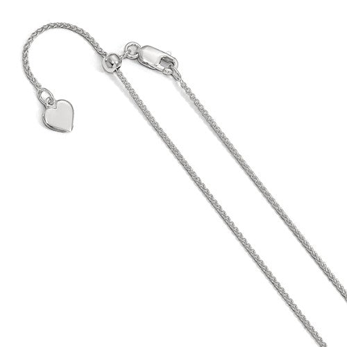 Sterling Silver 1mm Spiga Wheat Necklace Pendant Chain Adjustable