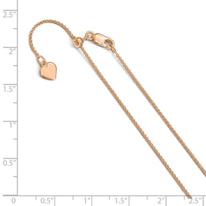 Sterling Silver Rose Gold Plated 1mm Spiga Wheat Necklace Pendant Chain Adjustable