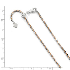 Sterling Silver Rose Gold Plated 2mm Cyclone Necklace Chain Adjustable
