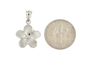 14k White Gold Plumeria Flower Small Pendant Charm