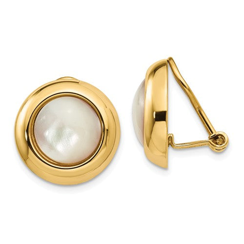 14k Yellow Gold Mother of Pearl Non Pierced Omega Clip On Stud Earrings