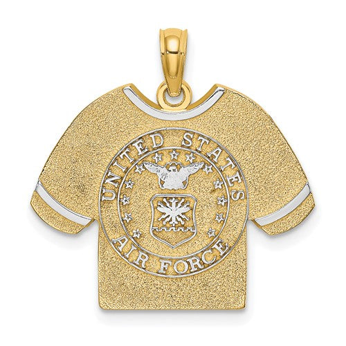 14K Yellow Gold Rhodium United States US Air Force T Shirt Pendant Charm