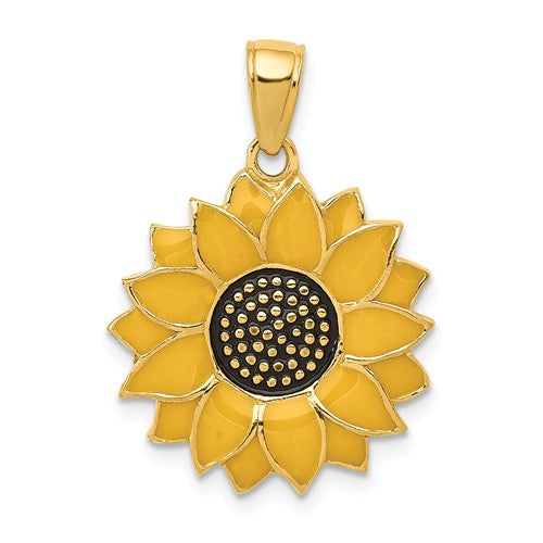 14k Yellow Gold with Yellow Enamel Sunflower Pendant Charm