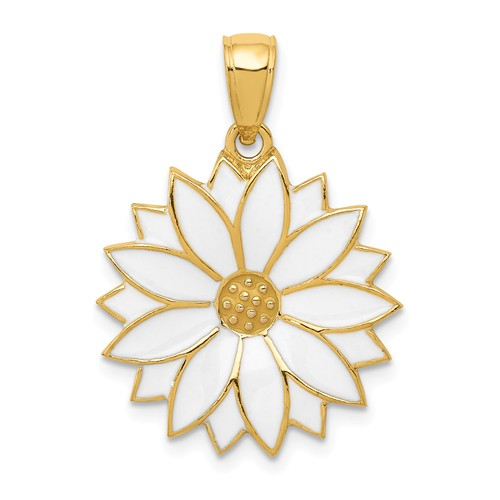 14k Yellow Gold with White Enamel Daisy Flower Floral Pendant Charm