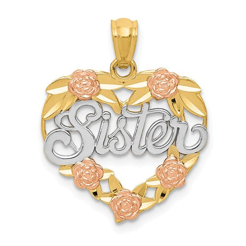14k Yellow Rose Gold and Rhodium Sister Heart Flowers Pendant Charm