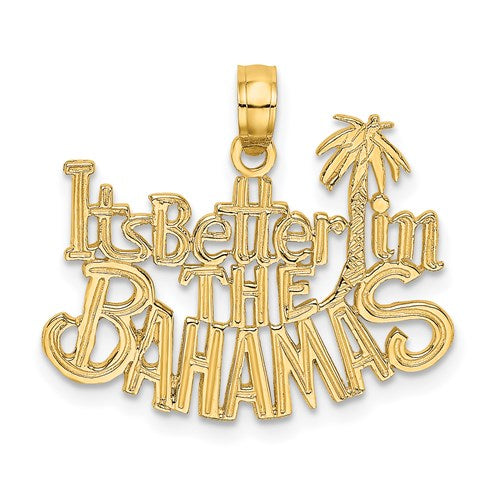 14k Yellow Gold It's Better in The Bahamas Palm Tree Pendant Charm