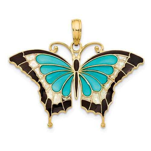 14k Yellow Gold with Enamel Blue Butterfly Pendant Charm