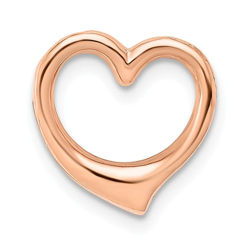 14k Rose Gold Floating Heart Chain Slide Pendant Charm