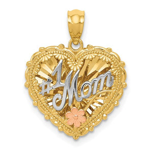 14k Gold Tri Color Mom Heart Pendant Charm