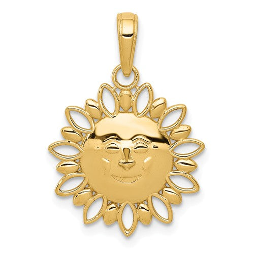 14k Yellow Gold Celestial Smiling Sun Cut Out Pendant Charm